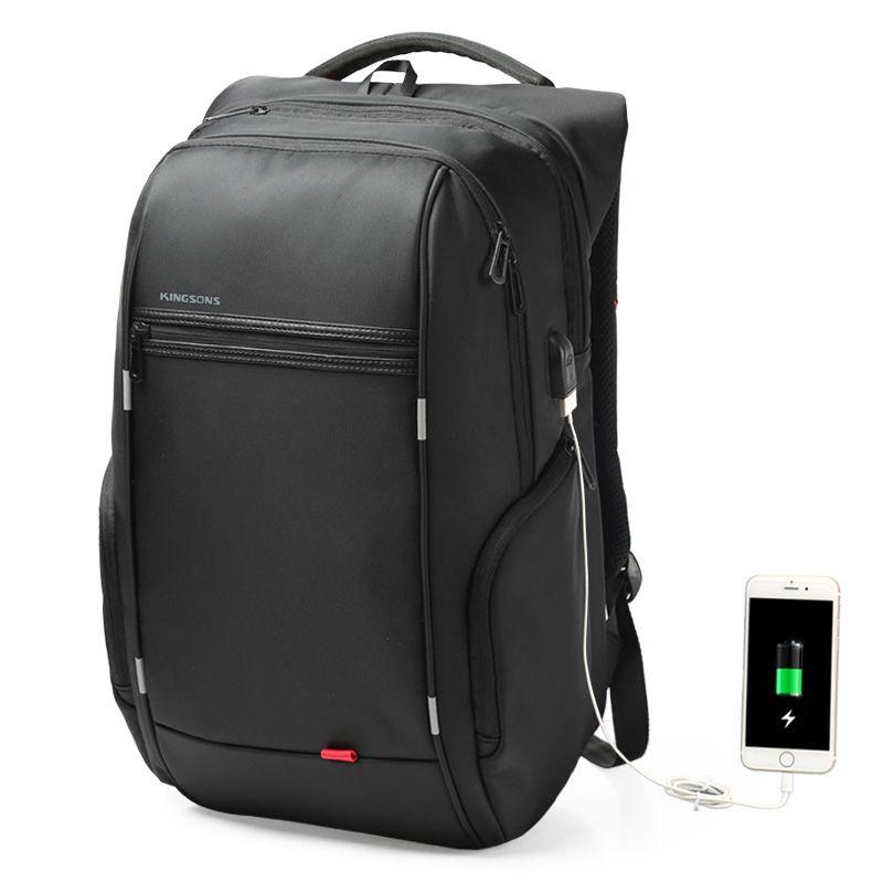 現貨 | Kingsons 15.6吋筆記型電腦後背包 | USB充電設計 | 防潑水 | 黑色 | KS3140W【森活館】
