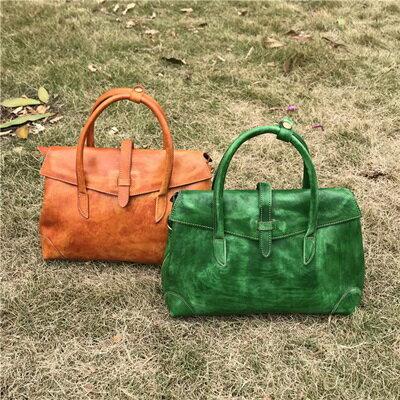 手提包植鞣皮側背包-歐美復古有型擦色女包包5色73sv40【獨家進口】【米蘭精品】