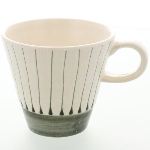 色釉十草陶杯 白 1