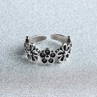 ~925純銀戒指花朵開口戒~優雅復古唯美 情人節生日 女飾品73gp55~ ~~米蘭 ~