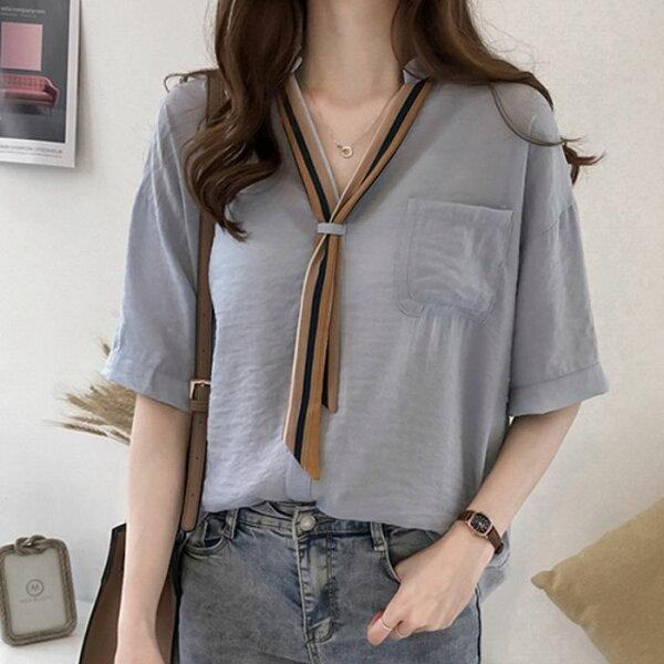 糖衣子輕鬆購【GH8631】韓版時尚休閒寬鬆百搭條紋領帶襯衫上衣
