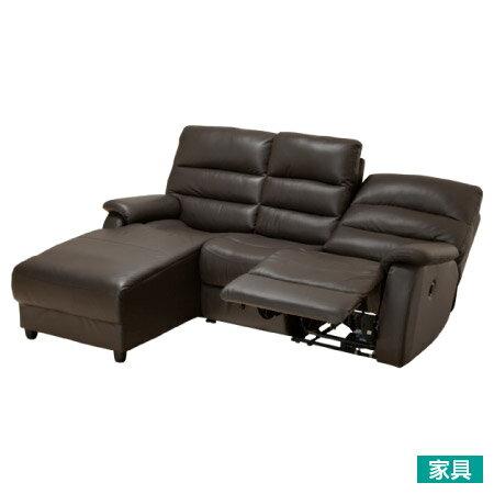 ◎全皮右躺椅L型3人用電動可躺式沙發 BELIEVER2 R DBR