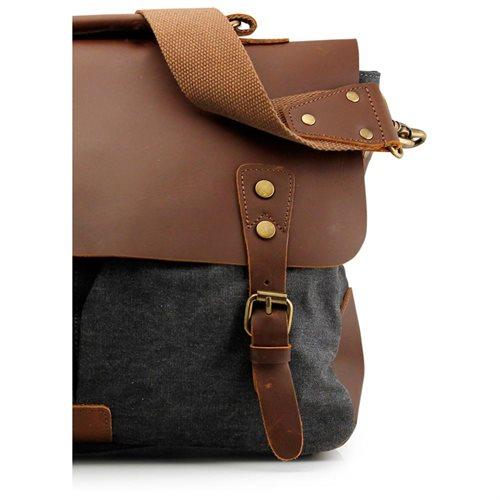 Men's Vintage Canvas Leather Satchel School Military Messenger Shoulder Bag Travel Bag - Gray 1