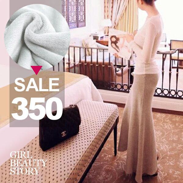 SISI【P7002】優雅氣質保暖修身加絨加厚包臀半身長裙大襬魚尾裙情人約會