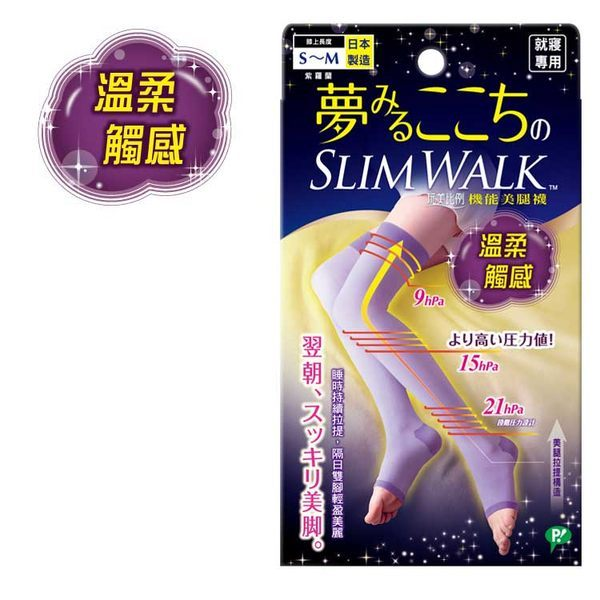 SLIM WALK 絲襪 LYCRA( 萊卡) 玩美比例 機能美腿襪 就寢/入浴後/回家後/放鬆時間 專用 S~M / M~L日本製造