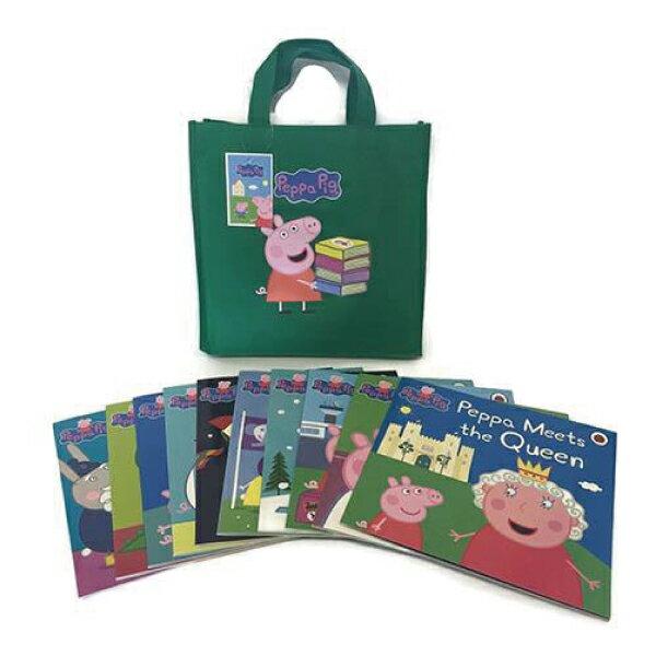 Peppa Pig Bag Collection 佩佩豬旅行袋套裝書(10本平裝故事書+1綠色提袋)好窩生活節
