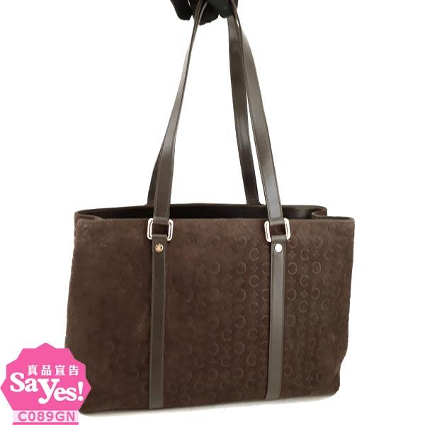 【奢華時尚】CELINE 棕色Logo徽章壓紋麂皮肩背雙層式托特包(八成新) #20767