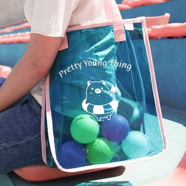 手提包日韓透明PVC彩色沙灘手提包購物袋【O3489】☆雙兒網☆