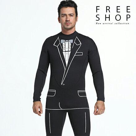 Free Shop:FreeShop厚度3mm男款連身長袖長褲西裝圖案潛水服衝浪衣防寒衣高彈力超耐磨防水鎖溫【QAAML7064】