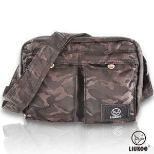 LIUKOO戰地叢林迷彩系列 ~ 雙口袋 防潑水小容量側背包 ~~ 棕~