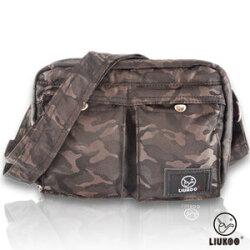 LIUKOO戰地叢林迷彩系列 - 雙口袋質感防潑水小容量側背包 -【質感棕】