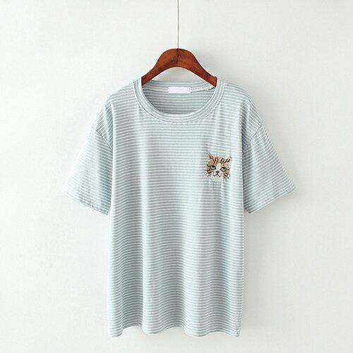 卡通貓咪刺繡條紋棉質圓領短袖T恤(4色F碼)【OREAD】 0