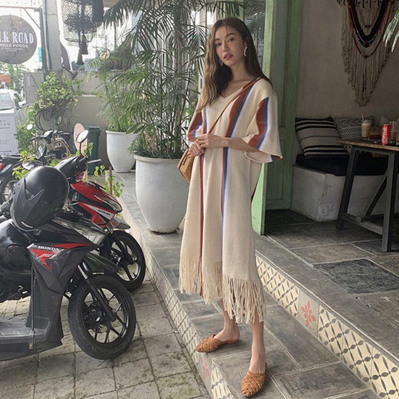 正韓 印地安 洋裝 長裙 長洋裝 V領 撞色 流蘇 短袖 連身裙 五分袖 民族風 圖騰 度假 海邊 顯瘦 韓國 ANNA S.