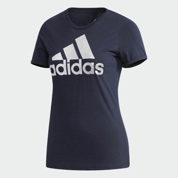 AdidasGFXTFOILLOGO女裝上衣短袖休閒純棉深藍銀【運動世界】CX5165