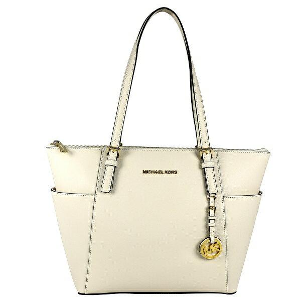 【MICHAEL KORS】金logo雙口袋拉鏈側肩包(珍珠白色) 30F2GTTT8L 117