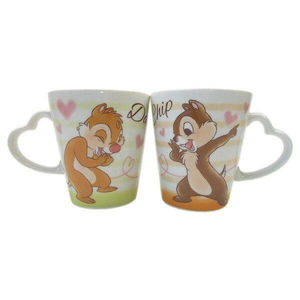 【真愛日本】18041400001愛心握把陶瓷馬克對杯組-奇蒂迪士尼奇奇蒂蒂花栗鼠杯子陶瓷馬克杯