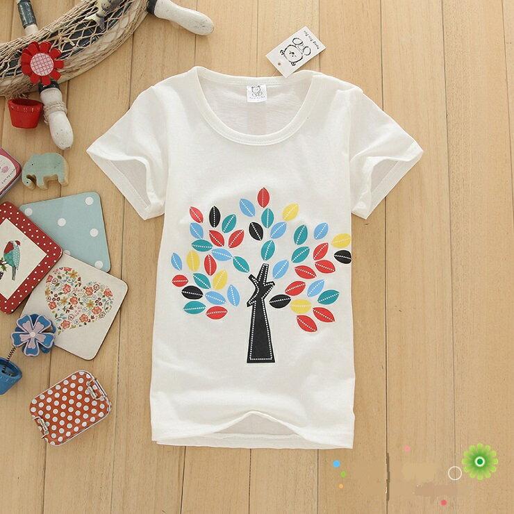 2017年新款夏裝 短袖T恤 上衣 男生 女生 兒童純棉 彩色小樹T恤 特價商品