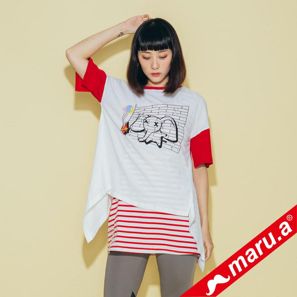 【maru.a】小飛象印花後開岔T-Shirt(2色)8311216 0