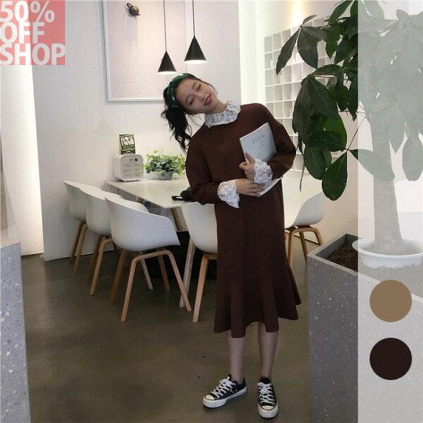 50 OFF SHOP:50%OFFSHOP韓版高領拼接蕾絲長袖百搭連衣裙(2色)【G032585C】