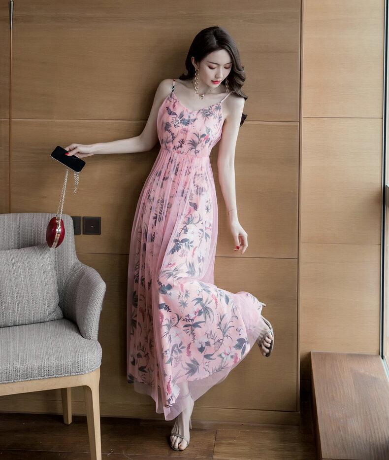 《全店75折》清樣甜心粉縮腰細肩帶長洋裝(S-XL)- 梅西蒂絲(現貨+預購)