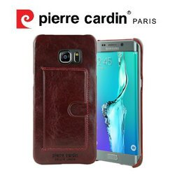 [ Samsung S6 edge+ ] Pierre Cardin法國皮爾卡登高級牛皮經典卡袋真皮手機殼/保護殼/皮套 紅色
