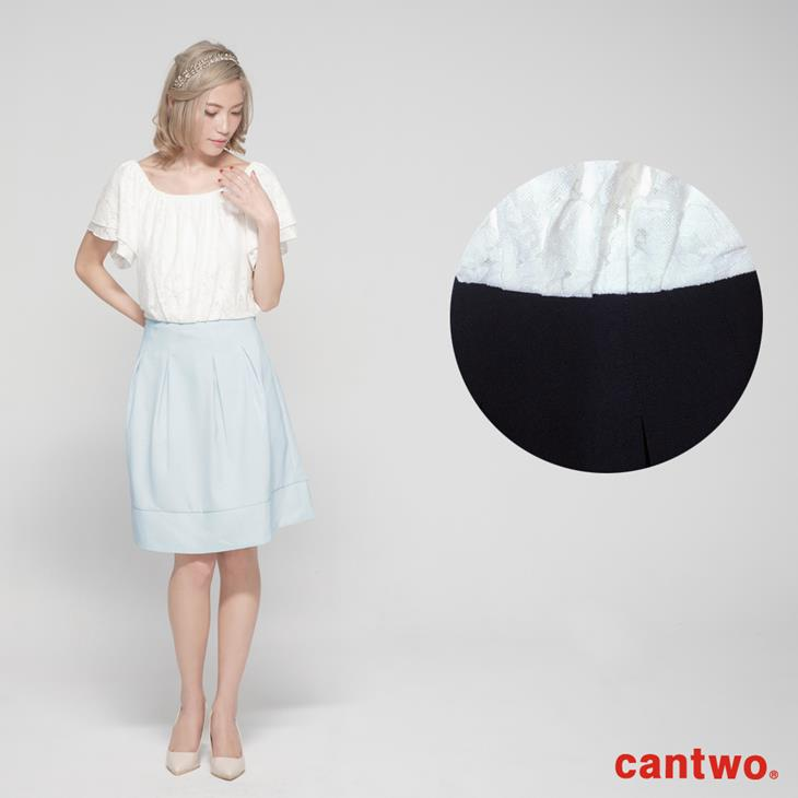 cantwo蕾絲雙層荷葉袖洋裝(共二色) 6