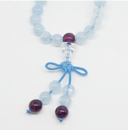 海藍寶搭配石榴石108佛珠手鏈 時尚多層複古女款