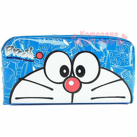 〔小禮堂〕哆啦A夢 拉鍊筆袋《藍.半臉》也可當化妝包