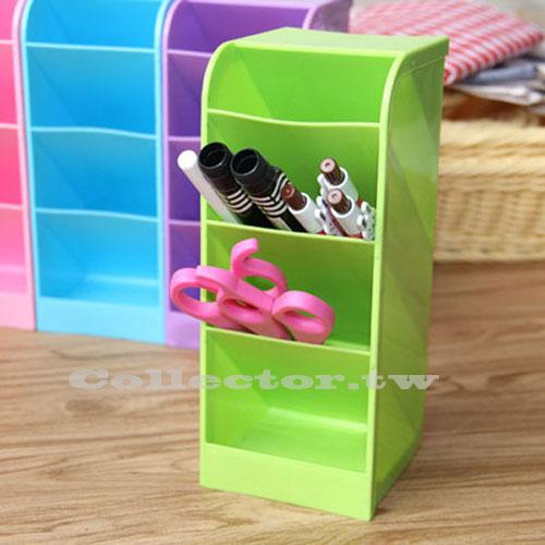 【L16102804】糖果色多功能寬版大容量四格收納盒 化粧品文具雜物桌上整理盒