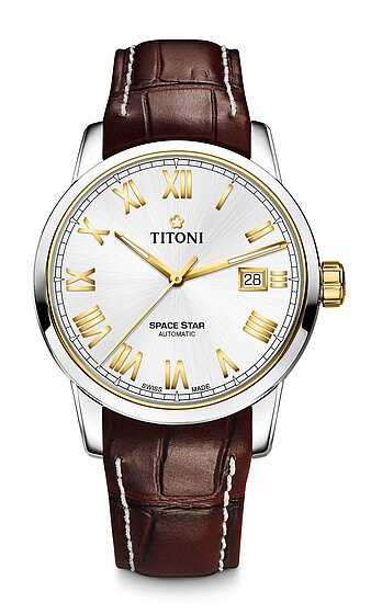 TITONI瑞士梅花錶天星系列83538SY-ST-561經典羅馬腕錶/金40mm