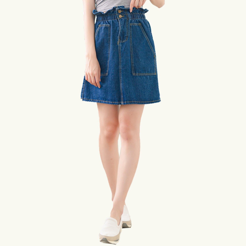 牛仔裙--休閒個性高腰鬆緊大口袋造型牛仔A字短裙(藍M-5L)-Q107眼圈熊中大尺碼 0