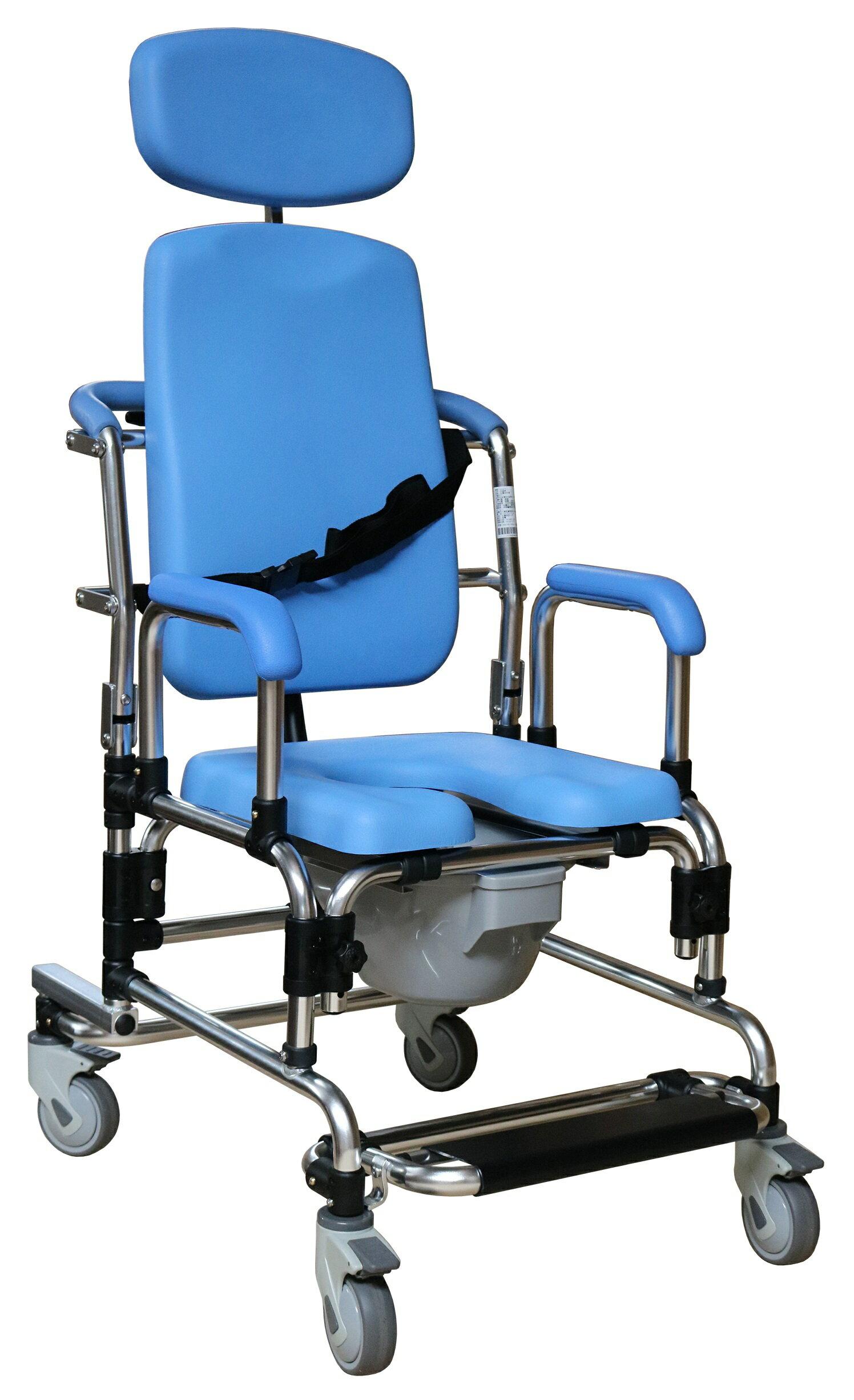 旗艦型洗澡椅/便器椅 防頃斜專利踏板 全PU坐背墊 動力輔助起身及後躺功能