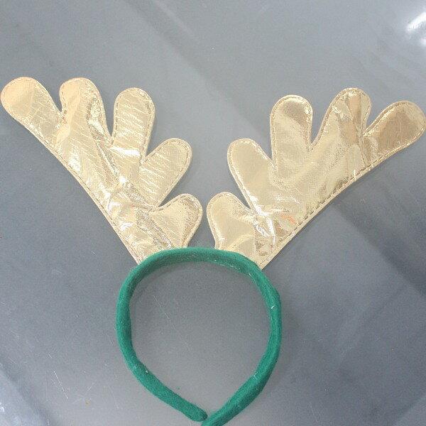 金色聖誕鹿角 聖誕飾品髮箍 聖誕鹿角髮夾頭飾 麋鹿角 聖誕頭圈(金色)/一個入{促40}~755415~