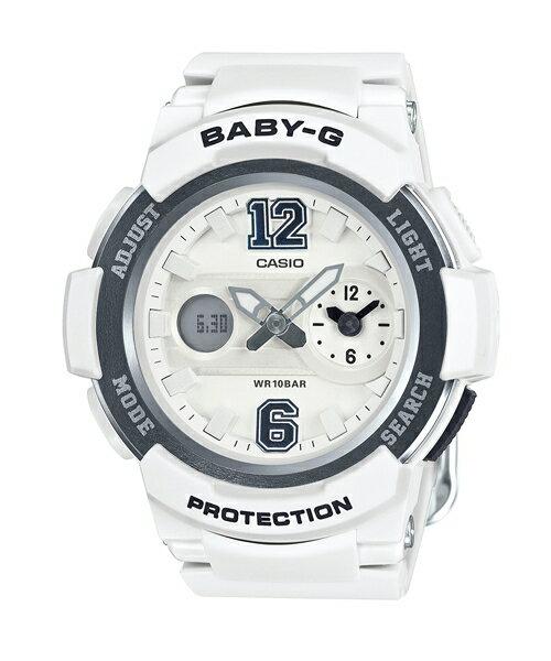 CASIO BABY-G BGA-210-7B1街頭運動雙顯流行腕錶/白色46mm
