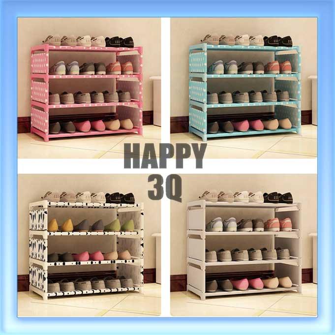 現代簡約圓點點DIY組裝優質防水小物收納架鞋架書櫃四層-銀灰/藍點/粉點/黑白【AAA0717】