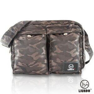 LIUKOO戰地叢林迷彩系列 ~ 雙口袋 防潑水中容量側背包 ~~ 棕~