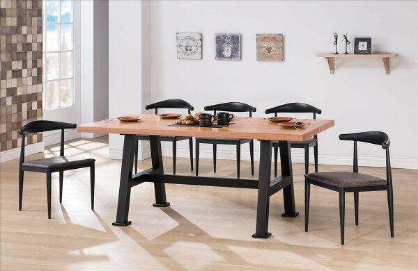 【石川家居】YE-A439-01諾亞全實木6尺黑腳餐桌(不含餐椅及其他商品)台北到高雄搭配車趟免運