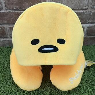 【真愛日本】 17091500021 造型帽附頸枕-蛋黃哥 三麗鷗 蛋黃哥 連帽午睡枕 U型枕 靠枕 靠墊