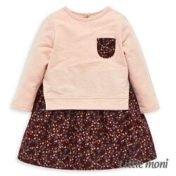 Little moni 小碎花拼接洋裝-粉紅
