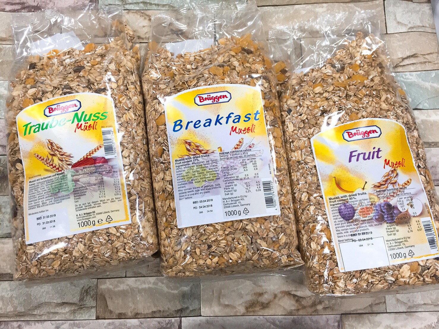 慧鴻 綜合穀物 綜合麥片 水果麥片 堅果麥片 早餐麥片1000g(早餐綜合穀物/綜合堅果穀物(含葡萄乾)/水果綜合穀物)
