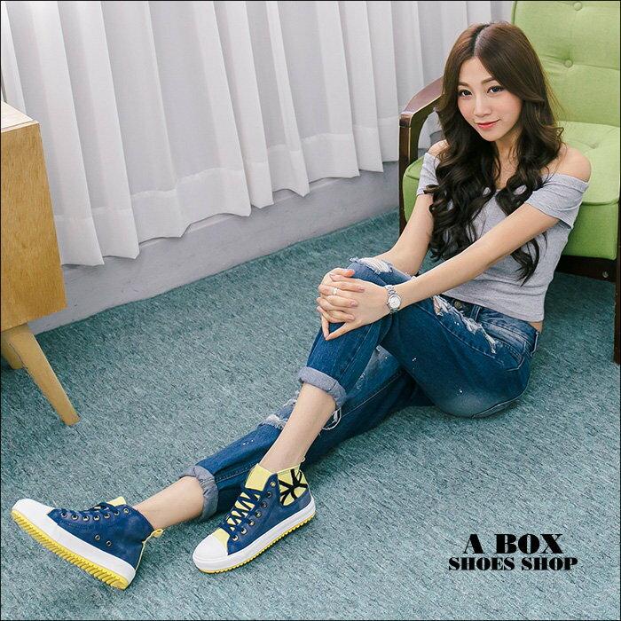 格子舖*【AAB0121】基本款百搭時尚撞色 帆布材質 高筒綁帶帆布鞋 2色 2