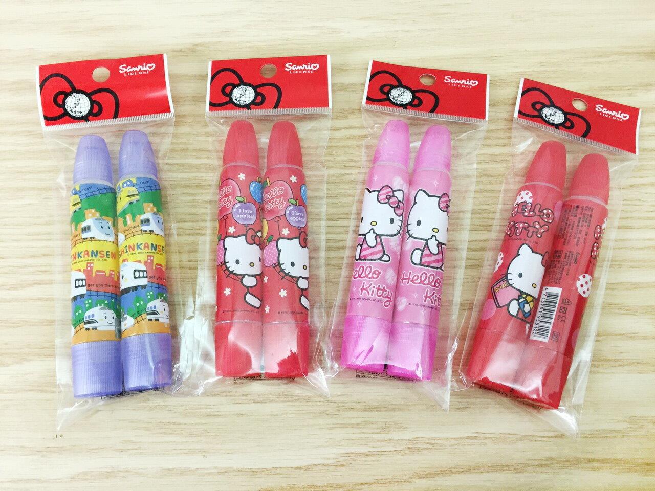【真愛日本】16011400028 圓型雙頭膠水2入-多款 KITTY 凱蒂貓 三麗鷗 文具 膠水 辦公室用品