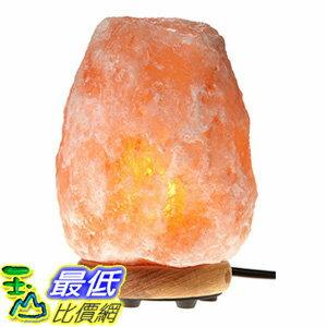 [106美國直購] WBM Himalayan Glow 1002 Hand Carved Natural Salt Lamp with Genuine Neem Wood Base/Bulb and Dimmer Control,Crystal,Amber,8-9-Inch, 8-11 lb