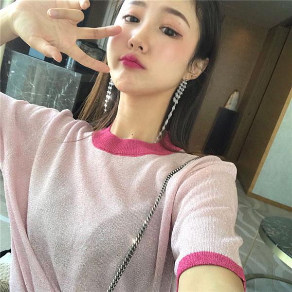 撞色亮絲T圓領短袖上衣金蔥亮粉光澤度金屬感顯瘦性感粉黑韓國ANNAS.