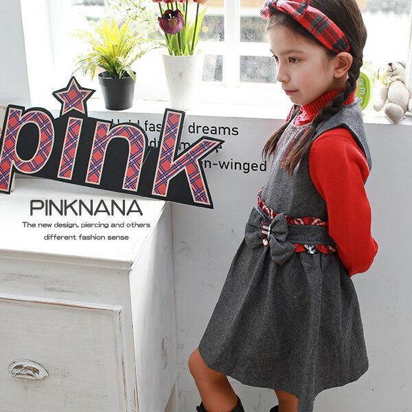 PINKNANA女童裝 亮片造型毛料背心洋裝30256