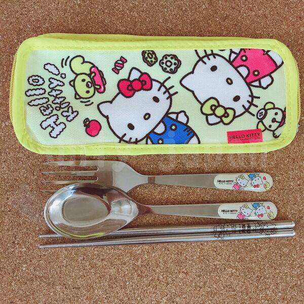 【真愛日本】18052900001不鏽鋼湯叉匙附套餐具組-姊妹黃三麗鷗凱蒂貓KITTY餐具組湯匙叉子筷子不鏽鋼食器