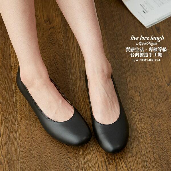 上班黑鞋。超值回饋真皮娃娃小低跟便鞋【QR62751080】AppleNana蘋果奈奈 1