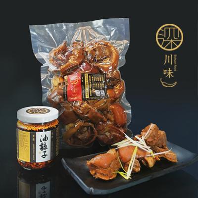 深川味香滷豬腳油辣子組合(豬腳1000g/包/油辣子100g/瓶)