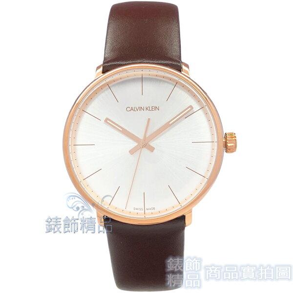 【錶飾精品】CK手錶K8M216G6時尚雅痞大三針銀白面玫瑰金框咖啡色皮帶男錶