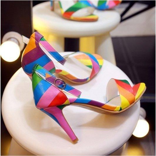 Pyf♥彩虹拼色細跟CDTS高跟繫帶涼鞋4344大尺碼女鞋